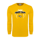 Gold Long Sleeve T Shirt-Towson Tigers Arched Over Basketball