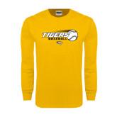 Gold Long Sleeve T Shirt-Tigers Baseball Flat w/Flying Ball