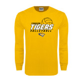 Gold Long Sleeve T Shirt-Tigers Volleyball Stacked w/ Ball