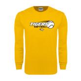 Gold Long Sleeve T Shirt-Tigers Softball Flat w/Flying Ball