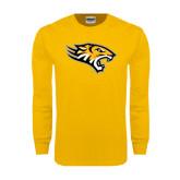Gold Long Sleeve T Shirt-Tiger Head