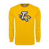 Gold Long Sleeve T Shirt-T w/Tiger Head