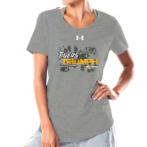 Ladies Under Armour Grey Charged Cotton Tee-Tiger Triumph