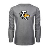Grey Long Sleeve T Shirt-T w/Tiger Head