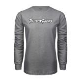Grey Long Sleeve T Shirt-Towson Tigers Wordmark