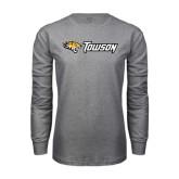 Grey Long Sleeve T Shirt-Tiger Head w/Towson Flat