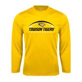 Performance Gold Longsleeve Shirt-Towson Tigers Football Horizontal
