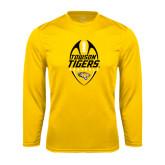 Performance Gold Longsleeve Shirt-Towson Tigers Football Vertical
