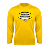 Performance Gold Longsleeve Shirt-Towson Football Inside Ball
