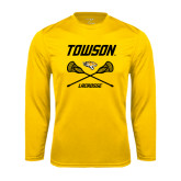 Performance Gold Longsleeve Shirt-Lacrosse Crossed Sticks