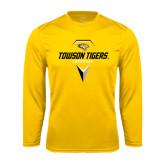Performance Gold Longsleeve Shirt-Geometric Lacrosse Head