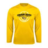 Performance Gold Longsleeve Shirt-Basketball Arched w/Ball