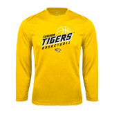 Performance Gold Longsleeve Shirt-Tigers Basketball Slanted w/Striped Pattern