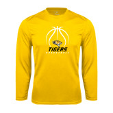 Performance Gold Longsleeve Shirt-Tigers Basketball Stacked Under Ball