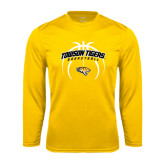 Performance Gold Longsleeve Shirt-Towson Tigers Arched Over Basketball