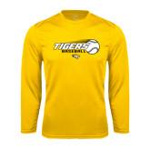 Performance Gold Longsleeve Shirt-Tigers Baseball Flat w/Flying Ball