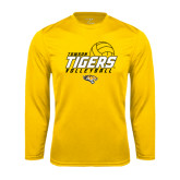 Performance Gold Longsleeve Shirt-Tigers Volleyball Stacked w/ Ball