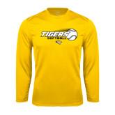 Performance Gold Longsleeve Shirt-Tigers Softball Flat w/Flying Ball