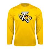 Performance Gold Longsleeve Shirt-T w/Tiger Head
