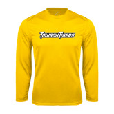 Performance Gold Longsleeve Shirt-Towson Tigers Wordmark