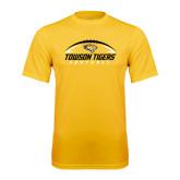 Performance Gold Tee-Towson Tigers Football Horizontal