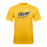 Syntrel Performance Gold Tee-Tigers Basketball Slanted w/Striped Pattern