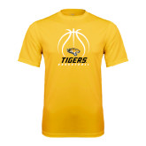 Performance Gold Tee-Tigers Basketball Stacked Under Ball