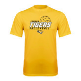 Performance Gold Tee-Tigers Volleyball Stacked w/ Ball
