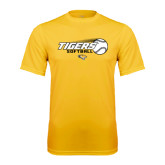 Performance Gold Tee-Tigers Softball Flat w/Flying Ball