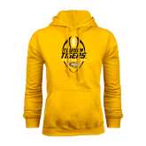 Gold Fleece Hoodie-Towson Tigers Football Vertical