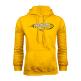 Gold Fleece Hoodie-Flying Football w/Tiger Stripes