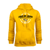Gold Fleece Hoodie-Basketball Arched w/Ball