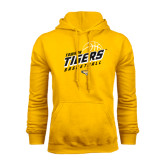 Gold Fleece Hoodie-Tigers Basketball Slanted w/Striped Pattern