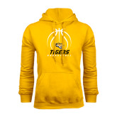 Gold Fleece Hoodie-Tigers Basketball Stacked Under Ball