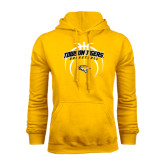 Gold Fleece Hoodie-Towson Tigers Arched Over Basketball