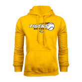Gold Fleece Hoodie-Tigers Baseball Flat w/Flying Ball