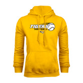 Gold Fleece Hoodie-Tigers Softball Flat w/Flying Ball