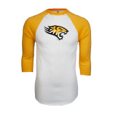 White/Gold Raglan Baseball T-Shirt-Tiger Head