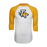 White/Gold Raglan Baseball T-Shirt-T w/Tiger Head