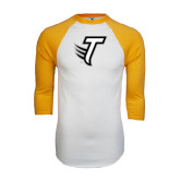White/Gold Raglan Baseball T-Shirt-Towson T