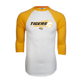 White/Gold Raglan Baseball T-Shirt-Tigers Baseball Flat w/Flying Ball