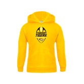 Youth Gold Fleece Hoodie-Towson Tigers Football Vertical