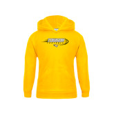 Youth Gold Fleece Hoodie-Flying Football w/Tiger Stripes