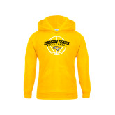Youth Gold Fleece Hoodie-Basketball Arched w/Ball