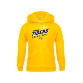 Youth Gold Fleece Hoodie-Tigers Basketball Slanted w/Striped Pattern