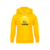 Youth Gold Fleece Hoodie-Tigers Basketball Stacked Under Ball