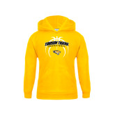 Youth Gold Fleece Hoodie-Towson Tigers Arched Over Basketball