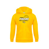 Youth Gold Fleece Hoodie-Tigers Volleyball Stacked w/ Ball