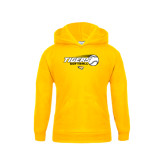 Youth Gold Fleece Hoodie-Tigers Softball Flat w/Flying Ball