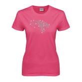 Ladies Fuchsia T Shirt-Tiger Head Rhinestones